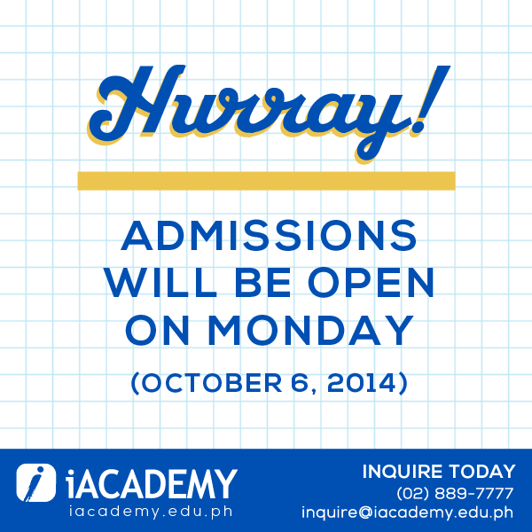 Admissions will be open on Monday